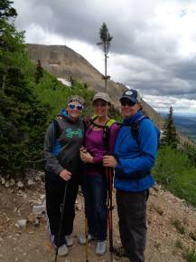 Michaela, Diana and Mike on Hahn's Peak, Colorado